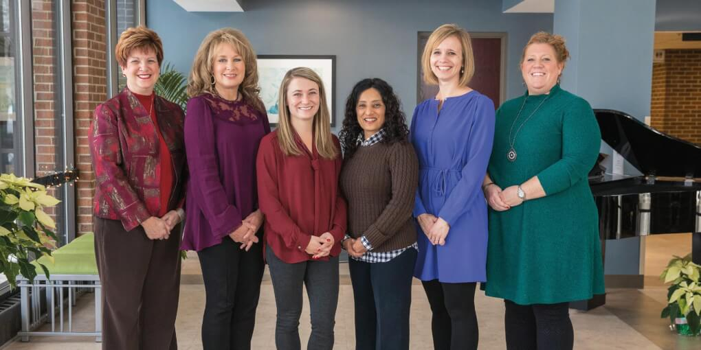 Team members who established a community-based palliative care project for Spectrum Health are pictured: from left, Dianne Conrad, Lisa Vanderwel, Katelyn Gettel, Dr. Simin Beg, Rachel Cardosa and Angela Kinch. Not pictured is Tanya Rowerdink.